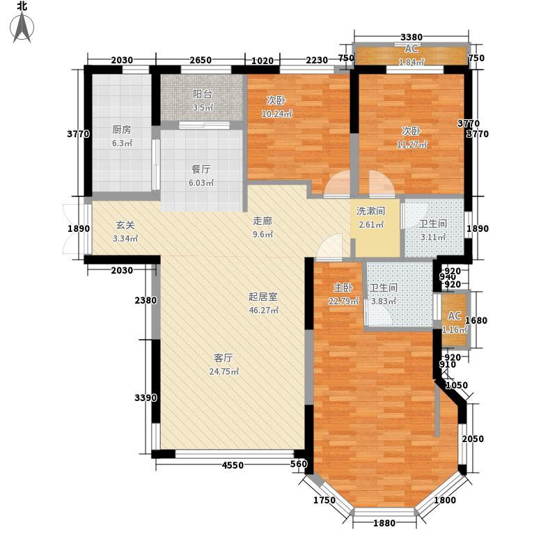 中南世纪城124.00㎡二期G2户型3室2厅