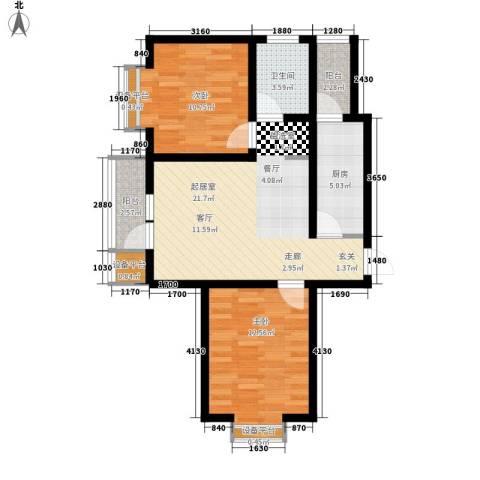 耀华心领寓2室0厅1卫1厨90.00㎡户型图