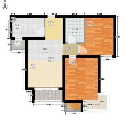 乐东馨园2室1厅1卫1厨87.00㎡户型图