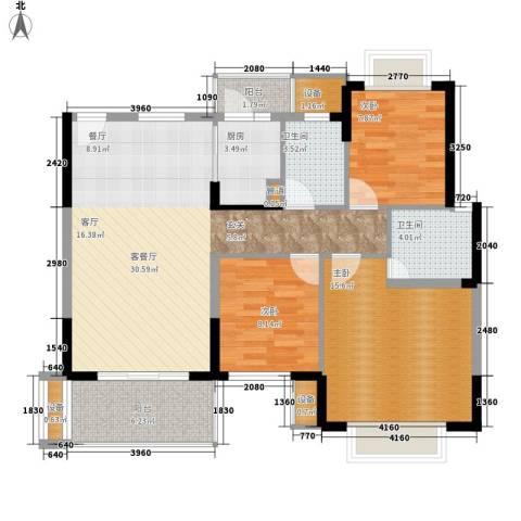 田心新村3室1厅2卫1厨95.69㎡户型图