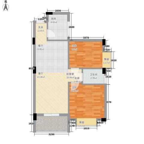 蔚蓝国际2室0厅1卫1厨81.00㎡户型图