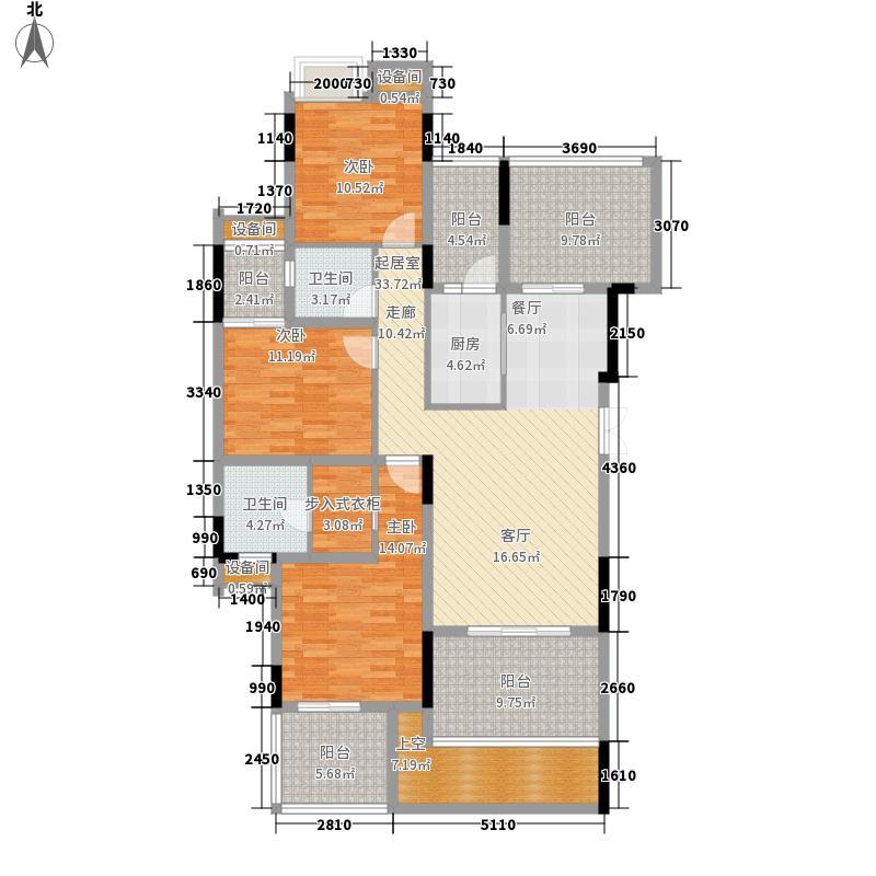 中慧第一城128.48㎡一期23号楼标准层d户型