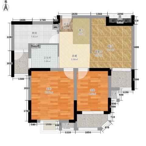华园四季2室1厅1卫1厨82.00㎡户型图