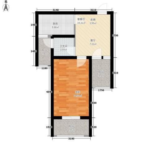 常绿・林溪谷1室1厅1卫1厨62.00㎡户型图