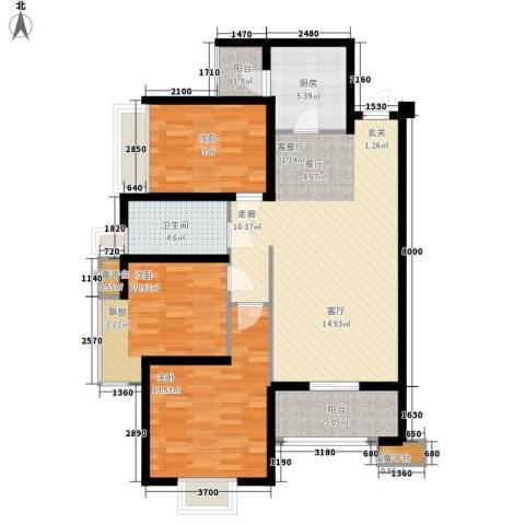 常绿・林溪谷3室1厅1卫1厨118.00㎡户型图