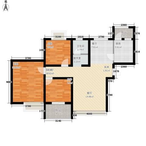 常绿・林溪谷3室1厅1卫1厨117.00㎡户型图