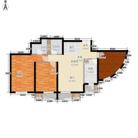 中海城香克林3室0厅2卫1厨138.00㎡户型图