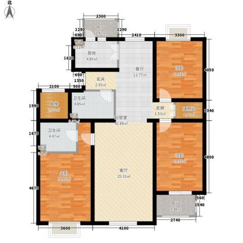 金厦新都庄园3室0厅2卫1厨145.00㎡户型图