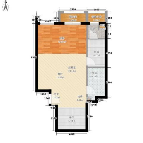 中海城香克林1卫1厨66.00㎡户型图