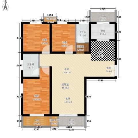 诚基中心国际公寓3室0厅2卫1厨130.00㎡户型图
