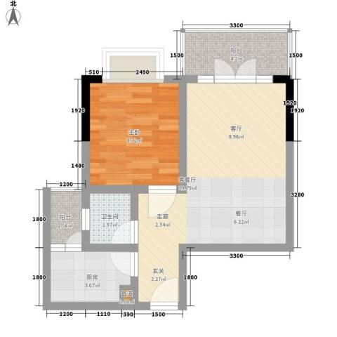 西亚松青大道60号1室1厅1卫1厨43.00㎡户型图