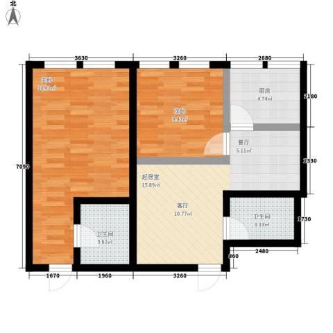 顶佳金领地2室0厅2卫1厨90.00㎡户型图