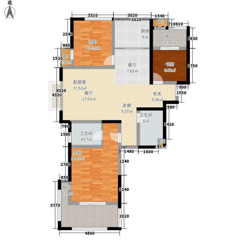 中南世纪城121.00㎡浪漫满屋C1-1户型3室3厅