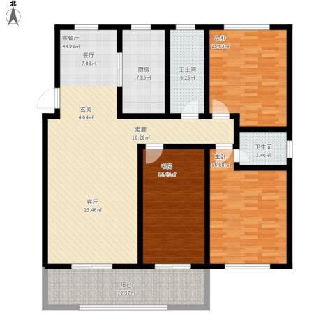 蓝钻庄园3室1厅2卫1厨175.00㎡户型图