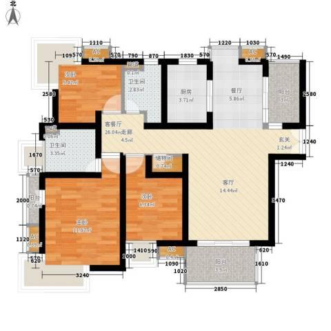 玉兰新村3室1厅2卫1厨81.00㎡户型图
