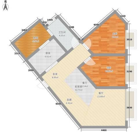 康路蓝山日记2室0厅1卫1厨80.00㎡户型图