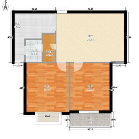 万花园2室1厅1卫1厨80.00㎡户型图