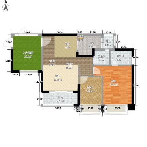 君悦新座2室1厅2卫1厨106.00㎡户型图