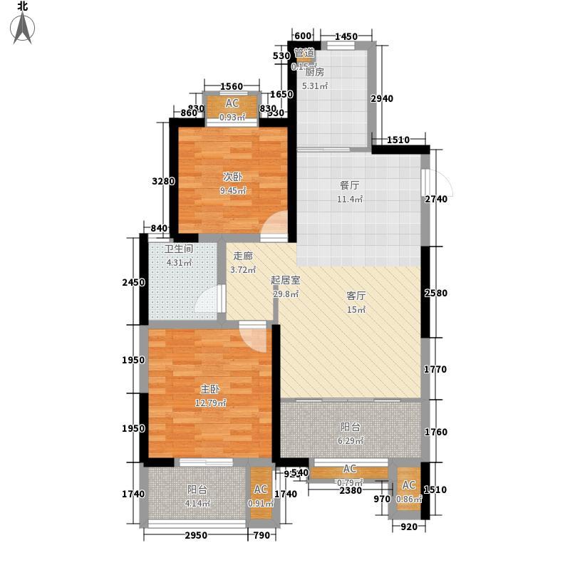 中南世纪城88.00㎡B5户型2室2厅