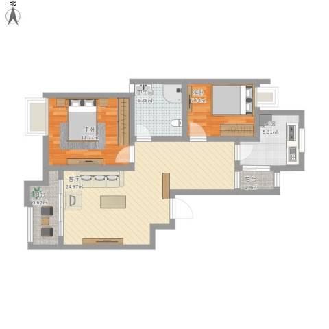 绿地东上海2室1厅1卫1厨88.00㎡户型图