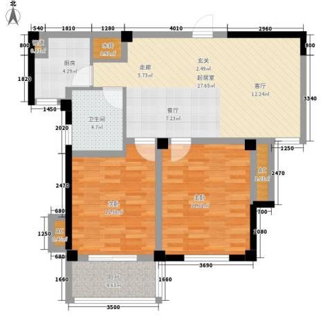 景城名郡2室0厅1卫1厨83.00㎡户型图