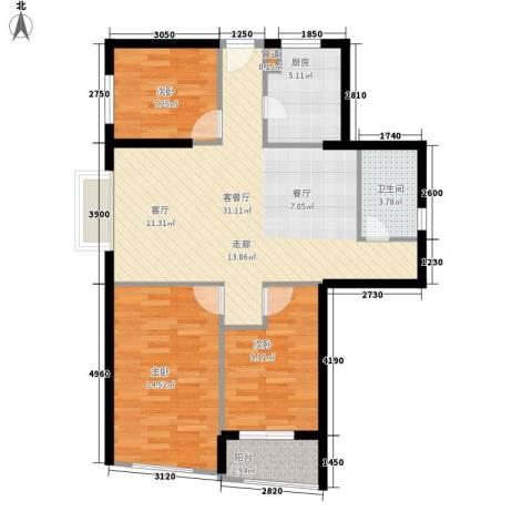 香格里拉城市广场3室1厅1卫1厨104.00㎡户型图