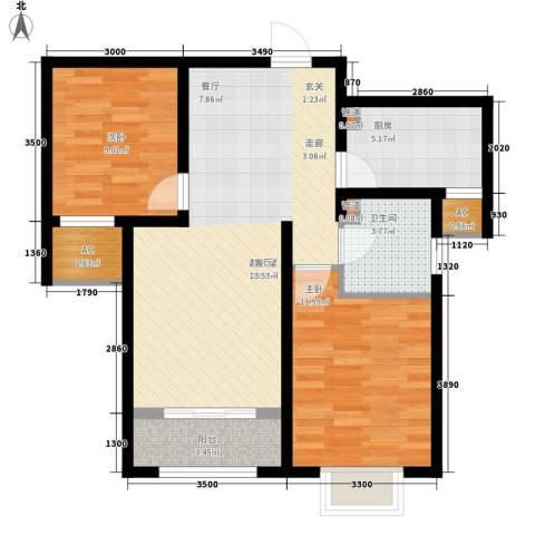 奥克斯盛世年华2室0厅1卫1厨83.00㎡户型图