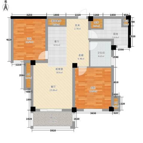 景城名郡2室0厅1卫1厨86.00㎡户型图