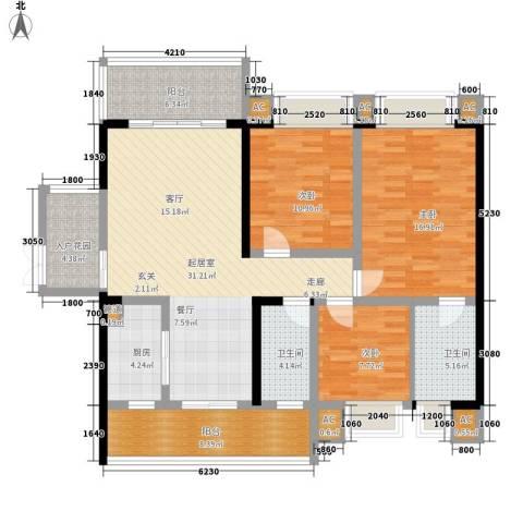 锦城南府3室0厅2卫1厨125.00㎡户型图
