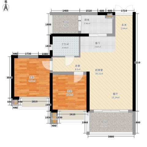 锦城南府2室0厅1卫1厨86.00㎡户型图