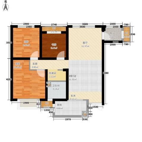 奥克斯盛世年华3室0厅1卫1厨106.00㎡户型图