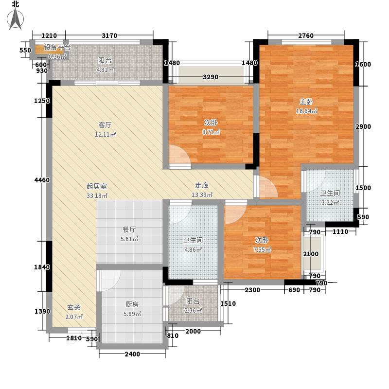 东衡槟城94.38㎡6号楼M面积9438m户型