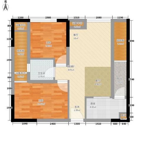 大有智慧广场2室1厅1卫1厨66.00㎡户型图