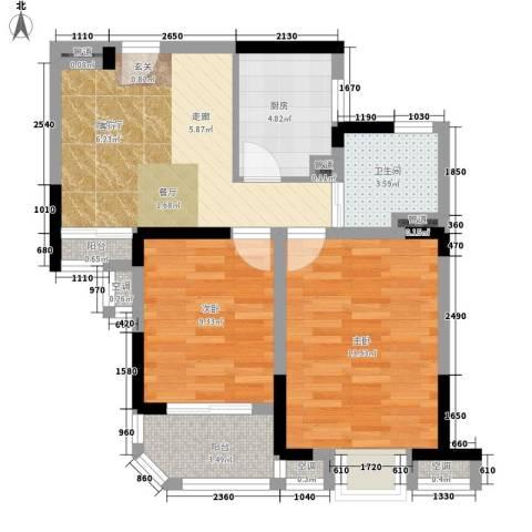 华园四季2室1厅1卫1厨70.00㎡户型图