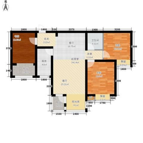 万福大厦3室0厅1卫1厨90.98㎡户型图