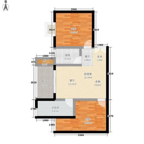 溪翔新村2室0厅1卫1厨89.00㎡户型图