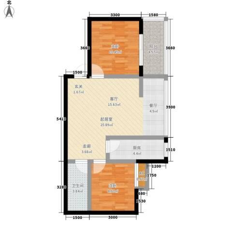 溪翔新村2室0厅1卫1厨85.00㎡户型图