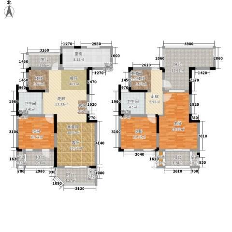 华园四季3室1厅2卫1厨134.74㎡户型图