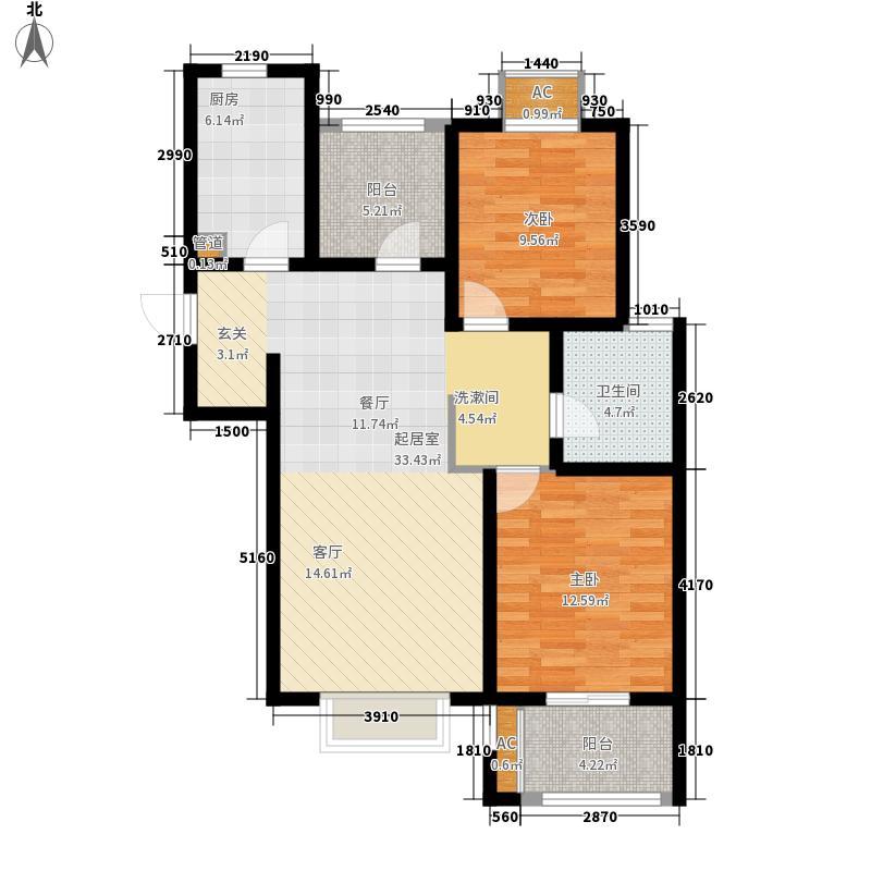 中南世纪城89.00㎡B4-2户型2室1厅
