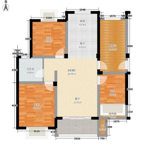 上层9号3室0厅1卫0厨90.00㎡户型图