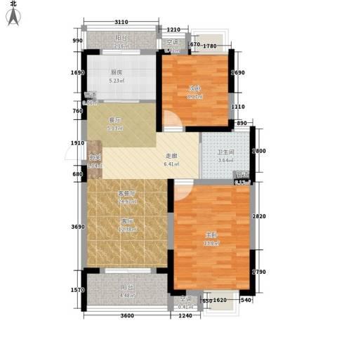 华园四季2室1厅1卫1厨83.00㎡户型图