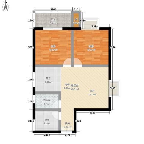 溪翔新村2室0厅1卫1厨90.00㎡户型图