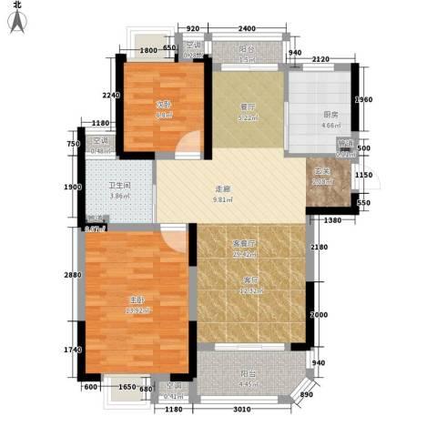 华园四季2室1厅1卫1厨86.00㎡户型图