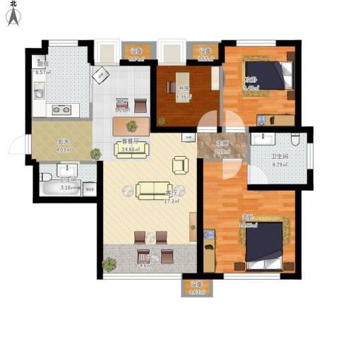 东丽1号3室1厅2卫1厨116.00㎡户型图