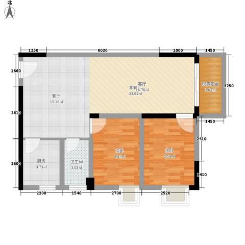 江南豪苑2室1厅1卫1厨89.00㎡户型图