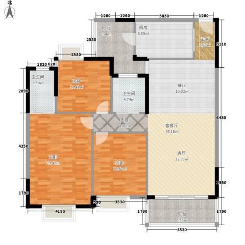 鹿茵华庭3室1厅2卫1厨139.00㎡户型图