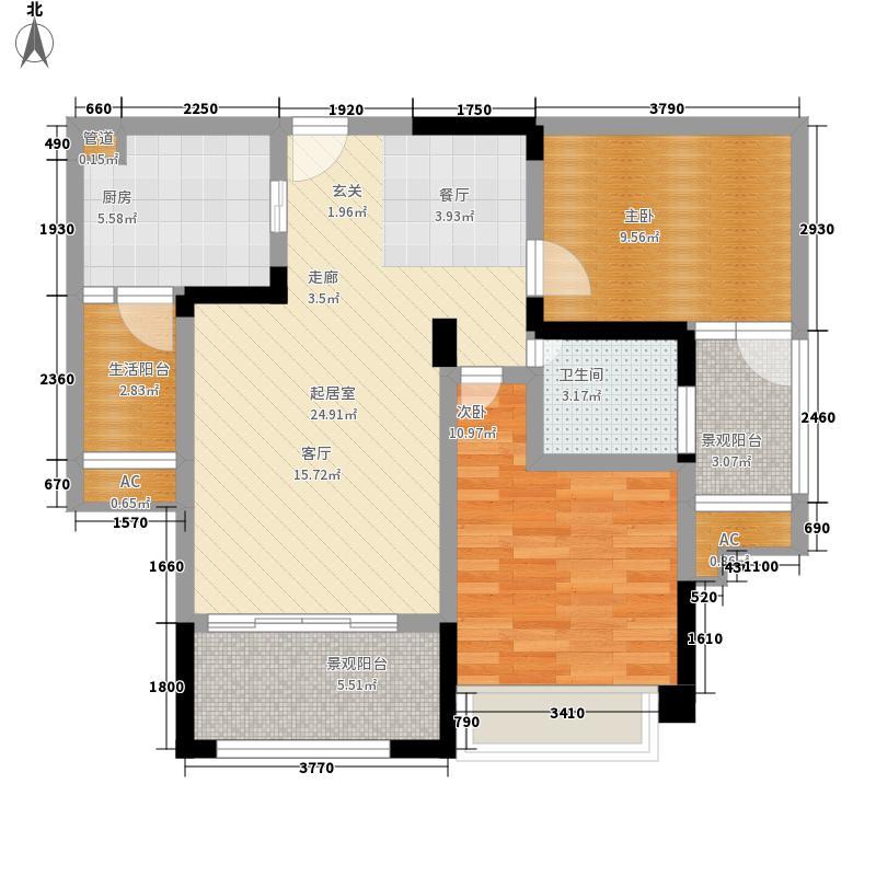塔尔门中奥城90.79㎡一期4号楼标准层3/8号房户型