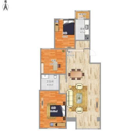 龙跃苑四区3室1厅1卫1厨120.00㎡户型图
