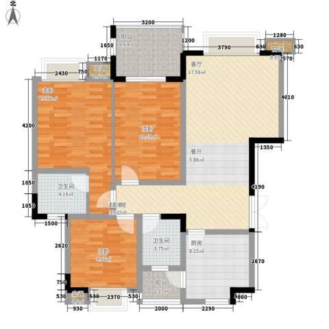 公园一号3室0厅2卫1厨129.00㎡户型图