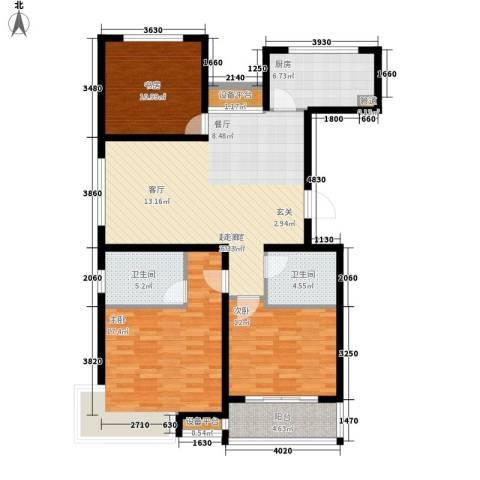 香江名邸3室0厅2卫1厨108.00㎡户型图